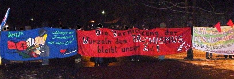Kampf dem Fasschismus auf allen Ebenen!<br /> Die Vernichtung der Wurzeln des Faschismus bleibt unser Ziel!<br /> Kein Vergeben! Kein Vergessen!
