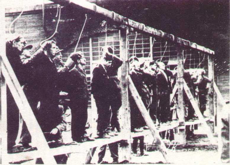 Köln, öffentliches Henken von elf Ost-Zwangsarbeitern 25. Oktober 1944.