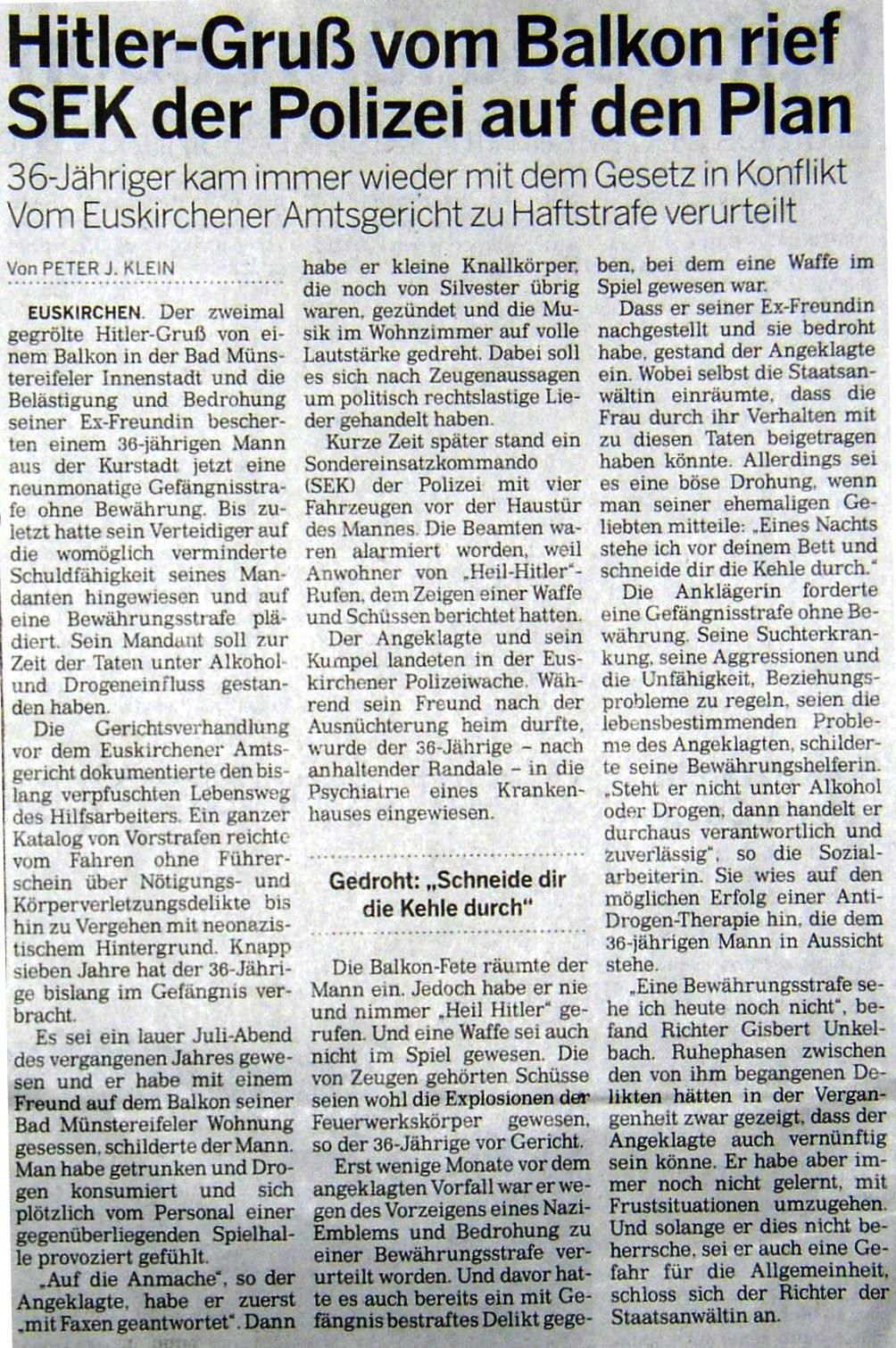 Hitler-Gru� vom Balkon rief SEK der Polizei auf den Plan - Kölnisch Rundschau 12.2.2011