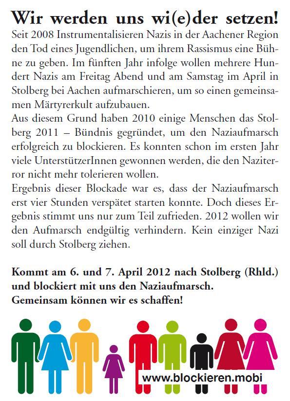 Gemeinsam den Naziaufmarsch blockieren! Stolberg 6.4. bis 7.4.2012