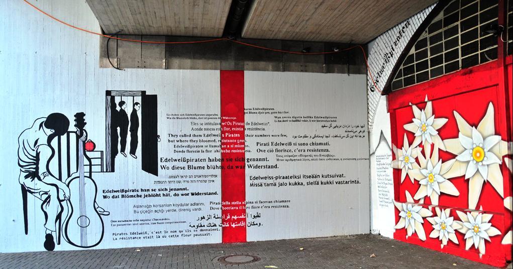 Mahnmal für die Ehrenfelder Edelweisspiraten am Bahnhof Ehrenfeld in Köln