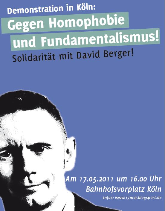 Am 17. Mai, dem Internationalen Tag gegen Homophobie, möchten wir gemeinsam gegen Schwulen- und Lesbenfeindlichkeit, sowie gegen religiösen Fundamentalismus in Köln demonstrieren