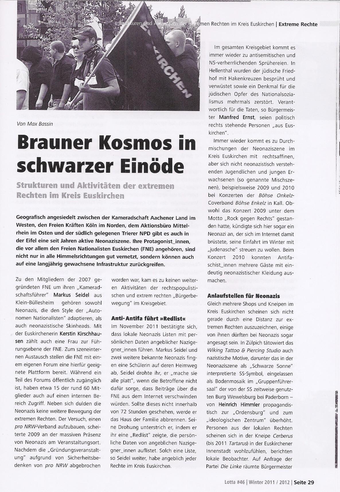 Brauner Kosmos in schwarzer Einöde - Strukturen und Aktivitäten der extremen Rechten im Kreis Euskirchen