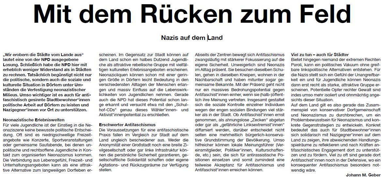 Mit dem Rücken zum Feld - Nazis auf dem Land